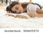 young woman sleeping with book... | Shutterstock . vector #504655573