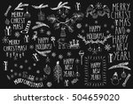 christmas line art black and... | Shutterstock .eps vector #504659020