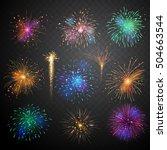 set of firework brusting with... | Shutterstock .eps vector #504663544