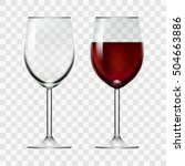 big reds wine empty glass and... | Shutterstock .eps vector #504663886