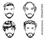 Set Of Men S Hairstyles  Beard...