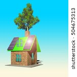house with solar panels  3d... | Shutterstock . vector #504675313