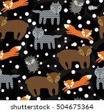 cute winter forest animals... | Shutterstock .eps vector #504675364
