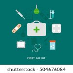 first aid kit icons | Shutterstock .eps vector #504676084
