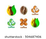 isolated abstract coffee bean... | Shutterstock .eps vector #504687406