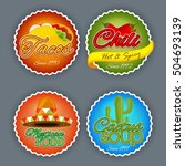 set of four creative stickers ... | Shutterstock .eps vector #504693139