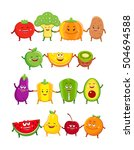 funny fruits and vegetables... | Shutterstock .eps vector #504694588