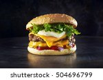 double cheese burger.... | Shutterstock . vector #504696799