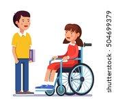 school boy talking to his... | Shutterstock .eps vector #504699379