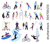 active leisure people icons set ... | Shutterstock .eps vector #504700153
