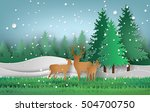 deer in the forest with... | Shutterstock .eps vector #504700750