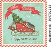 christmas card in vintage style ... | Shutterstock .eps vector #504702118