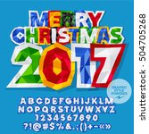 vector sticker merry christmas... | Shutterstock .eps vector #504705268
