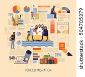 flat forced immigration...   Shutterstock .eps vector #504705379