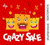 crazy sale. happy family of... | Shutterstock .eps vector #504709474