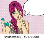surprised  pop art woman with... | Shutterstock .eps vector #504710086