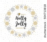holly jolly christmas card in a ... | Shutterstock .eps vector #504713818