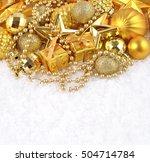 golden christmas decorations on ... | Shutterstock . vector #504714784