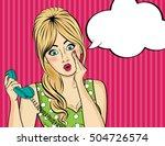 surprised  pop art woman with...   Shutterstock .eps vector #504726574