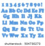 alphabet   frosted blue blurred ... | Shutterstock .eps vector #504730273