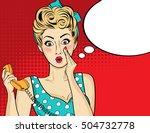 surprised  pop art woman with... | Shutterstock .eps vector #504732778
