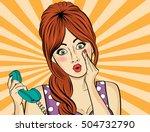 surprised  pop art woman with... | Shutterstock .eps vector #504732790