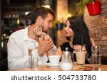 young couple in love look at... | Shutterstock . vector #504733780