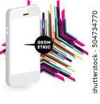 mobile phone icon with trendy... | Shutterstock .eps vector #504734770