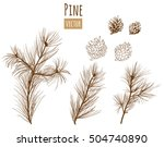 collection of pine branches and ... | Shutterstock .eps vector #504740890