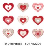 set of red decorative patchwork ... | Shutterstock .eps vector #504752209