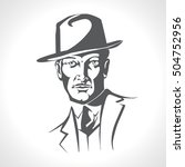 handsome male in a hat and suit.... | Shutterstock .eps vector #504752956