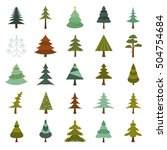 christmas tree icon set. flat... | Shutterstock .eps vector #504754684