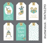 christmas cute gift tags set....   Shutterstock .eps vector #504761293