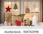 christmas window with decoration   Shutterstock . vector #504762598