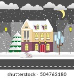 flat style winter house. urban. ... | Shutterstock .eps vector #504763180