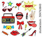 cute fashion patch badges with... | Shutterstock .eps vector #504763843