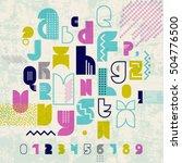 80s retro alphabet banner.... | Shutterstock .eps vector #504776500