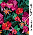 Stock vector vector exotic floral pattern on black background for fashion swimwear active wear amazing palms 504776698