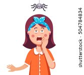 madly frightened woman. girl... | Shutterstock .eps vector #504784834