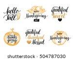 vector thanksgiving lettering... | Shutterstock .eps vector #504787030