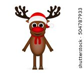 Cheerful Cartoon Reindeer On A...
