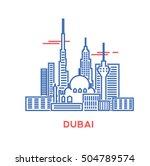 dubai city architecture retro... | Shutterstock .eps vector #504789574