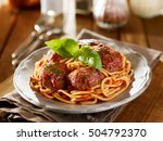 spaghetti and meatballs dinner... | Shutterstock . vector #504792370