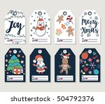 christmas and new year gift... | Shutterstock .eps vector #504792376