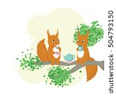two red squirrels sitting on a... | Shutterstock .eps vector #504793150
