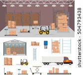 warehouse interior storage... | Shutterstock .eps vector #504793438
