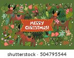 vector greeting card of bright... | Shutterstock .eps vector #504795544