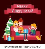 family on a sofa in christmas.... | Shutterstock .eps vector #504796750