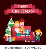 family on a sofa in christmas.... | Shutterstock .eps vector #504796780