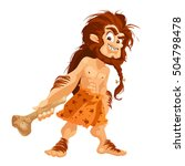 caveman isolated on white...   Shutterstock .eps vector #504798478